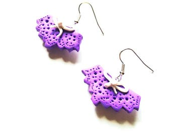 Earrings THE THONGS, little purple underwear earrings, by The Sausage