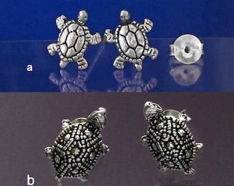 925 Solid Sterling Silver TURTLE Earrings-TORTOISE Earrings-Turtle Stud Earrings-Oxidized- Studs