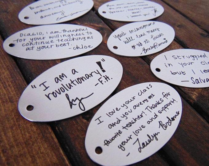 Teacher Appreciation Keychains - Child's Actual Handwriting - School Spirit, School Logo, Creative Teacher Gifts - Stainless Steel Keychain