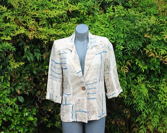 Vintage Blazer, Alice Stuart Petite , Linen Jacket, Beige, Teal, Single Button, 3/4 Sleeve, Size XS