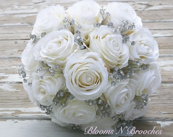 Ivory bridal bouquet, bling bouquet, bridal bouquet, artificial bouquet, bridal bouquet, bling bridal bouquet