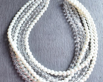 Alana - White Pearl Clear Glass Bridesmaid Statement Necklace