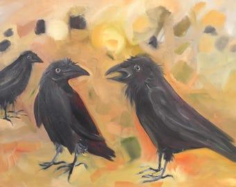 Three Crows Conversing Original Oil Painting 24x36