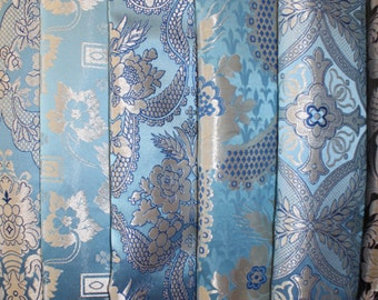 "Church Liturgical Vestment Greek Metallic Brocade Material ""Blue Silver"""