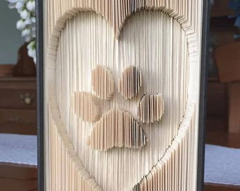 Paw Print in Heart Book Folding