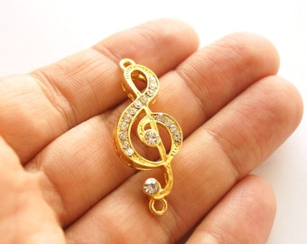1 pc-Matte Gold plated Solfège Rhinestone Charm, Connector -Music 40x18mm-(008-032GP)