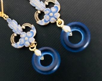 Beautiful  Art Nouveau Hand Painted Earrings Edwardian  Earrings  Bridal  Earring