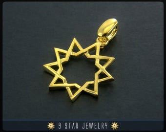 18 Karat Gold 9 Star Baha'i Pendant - (electroplate) BPGP3