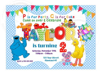 "Elmo Customized Printable Invitation-Personalized DIY Printable 5""x7"" or 4""x6""- Baby Shower- Birthday- Sesame Street YOU PRINT-Digital file"