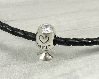 White Wine Glass European Bead Charm - Sterling Silver Wine Glass Large Hole Bead for European Bracelet