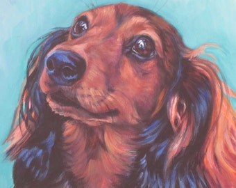red long haired Dachshund portrait CANVAS print of LA Shepard painting 12x16 dog art