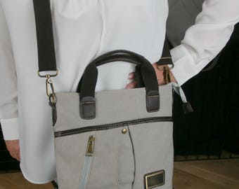 "The ""Convertible"" - A Grey Canvas Concealed Carry Satchel with a Strap!  - Semi Auto or Revolver - Nice and Roomy!"
