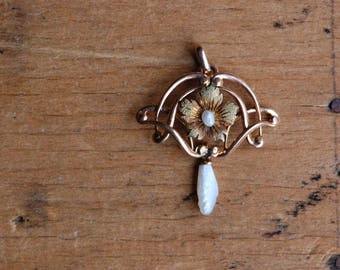 Antique 14K rose gold lavalier with flower and baroque pearl drop