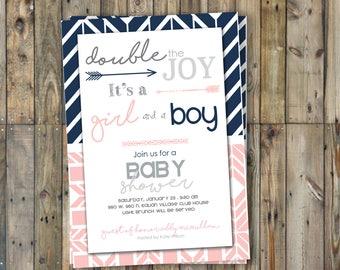 Twin Baby Shower Invitation - Twins - Boy & Girl- Navy/Pink
