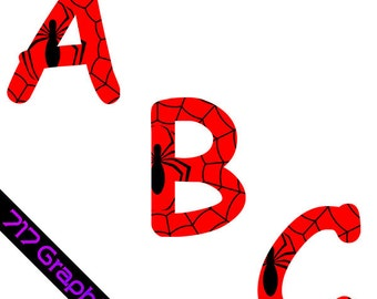 Spiderman Alphabet Clipart