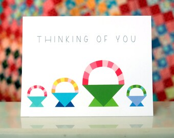 Thinking of You Notecard - Colorful Basket Quilt Pattern - Blank Inside
