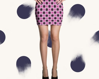 Pink and Purple patterned bright poppy mini skirt