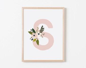 Gray Sprigs S Nursery Art. Nursery Wall Art. Nursery Prints. Nursery Decor. Girl Wall Art. Personalized Wall Art. Monogram Art. Floral Art.
