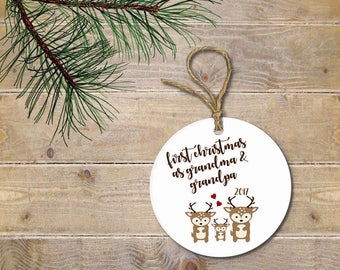 Grandparent Ornament, Ornament for Grandparents, Christmas Ornament, Baby Shower Gift, Grandma and Grandpa, New Grandparents, Deer