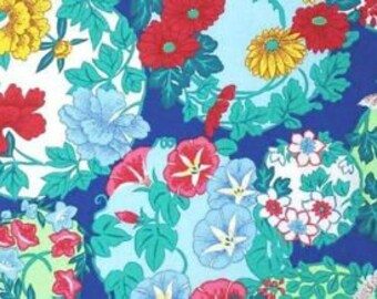 Snow Leopard Designs Fabric, Floating World, Torimoto in Zest, Floral, Blue, Red, Yellow cotton quilting fabric, Free Spirit - FAT QUARTER