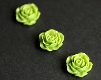 Avocado Green Rose Flower Refrigerator Magnets. Rose Magnets. Set of Three. Green Flower Magnets. Handmade Home Decor.