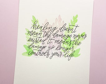 Hand Lettered Original Watercolor 8x10