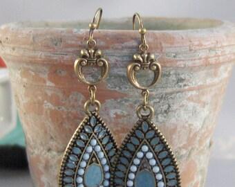 Gypsy Blue,Turquoise Earring,Blue Earring,Brass Earring,Boho Earring,Tribal Earring,Gypsy Earring,Aqua Earring,blue stone,valleygirldesigns