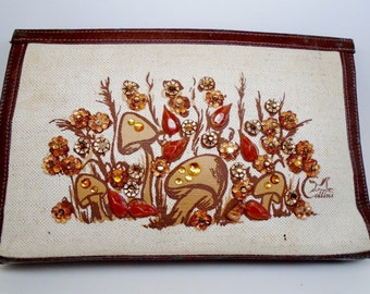 Vintage Jeweled Enid Collins Handbag Clutch Mushrooms Gold Amber Leatherette Linen 1970s Evening Day Rare Collectable Night Club Wedding