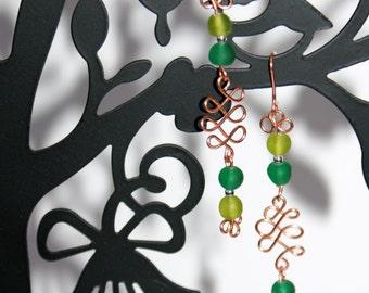 Copper Wire Earrings, Beaded Earrings