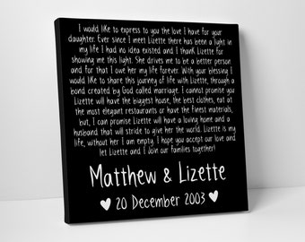 Engagement Letter, Hand in Marriage, Wedding Vows on Canvas