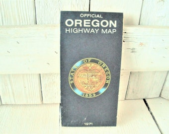 Vintage Oregon map highway road Tom McCall folding 1971- free shipping US