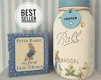 Peter Rabbit Mason Jar. Jemima puddleduck - Tom Kitten - Baby gift - nursery decor - new baby - personalised - christening - baby shower