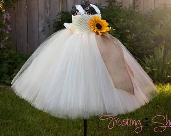 Ivory Sunflower Tutu Dress with Burlap- flower girl- vintage