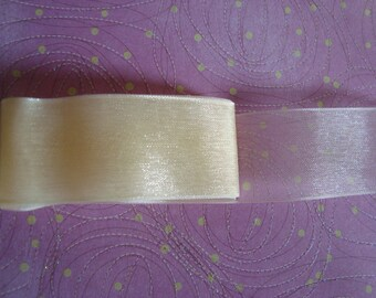 0.90 m - width 2.5 cm - straw yellow organza Ribbon straw