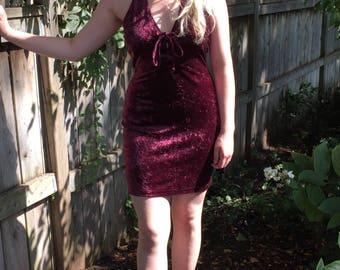 Vintage 90s Purple Crushed Velvet Halter Dress