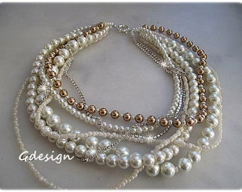 Wedding Ivory - Caramel  Bold Bridal Pearl necklace, Ivory Seed Bead Handmade Necklace. Chunky Layered Bridal Pearl jewellery