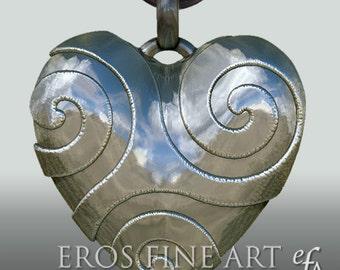 Herzanhänger Spiral Heart -  exklusiver, extravaganter, erotischer Silberanhänger, Herzanhänger, Spirale, Triskele, Herz, BDSM, Geschenk,