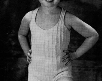 1940s Toddler Childs Swim and SUn suit to Knit PDF Pattern