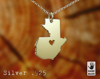 GUATEMALA Map Handmade Personalized Sterling Silver .925 Necklace in a gift box