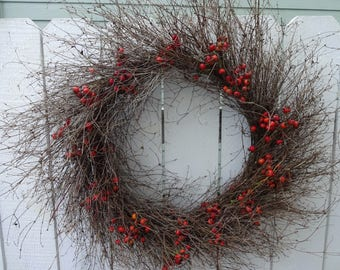 Twig Wreath  Berry Wreath  Wreath  Natural Wreath Holiday Wreath  Dried Wreath  Large Wreath  Home Decor Hostess Gift  Rose Hips
