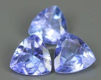 TANZANITE (35726)  PARCEL  (3 Gems ) Light Blue Trillion Cut - Tanzania Mined - Faceted