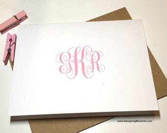 Personalized Monogram Note Cards - Custom Monogrammed Stationery - 3 Letter Custom Monogram - Calligraphy Script Custom Cards DM551