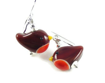 Robin Redbreast Bird Earrings, Handcrafted Lampwork Glass & Sterling Silver, Nature Jewellery Gift