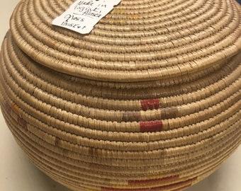 Vintage Native Alaskan Grass Basket made in 1960's
