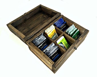 Made to Order: Rustic Divided Tea Box with Six Sections, Handmade Storage Box, Small Jewelry Box, Craft Supply Chest, Engraved Wood Gift Box