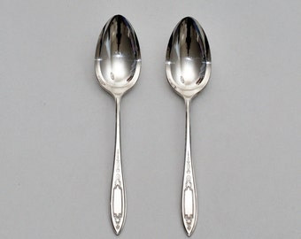 Vintage Wm A Rogers Debutante Silver Plate Serving Tablespoons, Pair, circa 1934