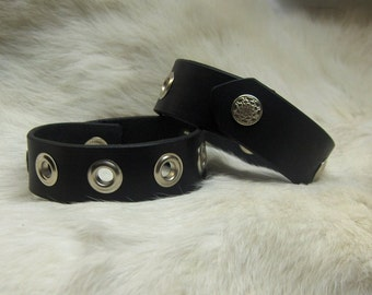 Black Leather Wristbands Pair with Grommets