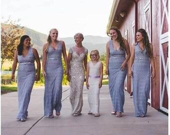 6T-7T, Ivory Flower Girl, Long Lace Dress, Cream Wedding Flower Girl, Cotton Lace Dress, Beach Wedding, Bohemian Girl Dress, Girl V Neck