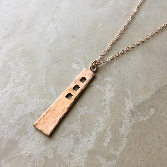 Copper Necklace, Hammered Pendant, Minimalist Jewelry, Mackintosh Jewelry