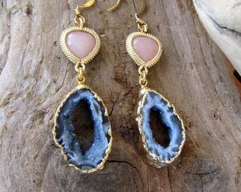 Pink Candy - Drusy Bazilian Agate earrings  -OOAK
